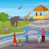Zoo Flat Cartoon Composition. Zoo flat colored composition with adults and kids looking for wild animals living in zoo vector illustration Stock Photography