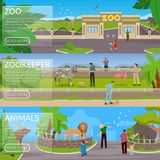 Zoo Flat Horizontal Banners. With visitors animals in cages and zookeepers involved in cleaning area and pet care vector illustration Stock Photos