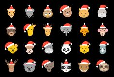 Wild and forest animal wearing christmas hat icon flat design stock illustration