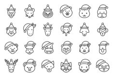 Wild and forest animal wearing christmas hat icon editable outline royalty free illustration