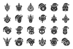 Wild and forest animal wearing christmas hat solid icon vector illustration