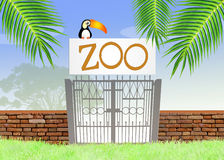 The zoo. Funny illustration of the zoo Stock Photography