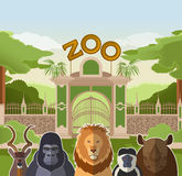 Zoo gate with african flat animals Stock Images