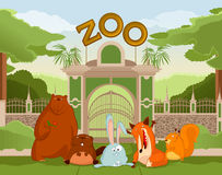 Zoo gate with animals 1. Vector image of zoo gate with animals 1 Royalty Free Stock Photos