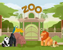 Zoo gate with animals 2 Royalty Free Stock Images