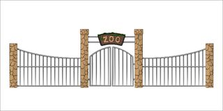 Zoo gate. Isolated object in cartoon style on white background. Gateway with lattice. Vector illustration vector illustration