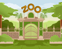 Zoo gate. Vector image of a colurful zoo gate stock illustration