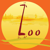 Zoo. Giraffe in a landscape. Vector illustration Stock Image