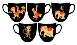 zoo Grupo de xícara de chá com os animais bonitos e as flores dos desenhos animados ilustração stock