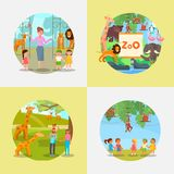 Zoo icon set vector flat style illustration royalty free illustration