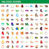 100 zoo icons set, cartoon style Royalty Free Stock Image