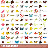 100 zoo icons set, flat style. 100 zoo icons set in flat style for any design vector illustration Royalty Free Stock Images