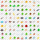 100 zoo icons set, isometric 3d style Royalty Free Stock Photography