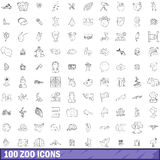 100 zoo icons set, outline style. 100 zoo icons set in outline style for any design vector illustration Stock Images