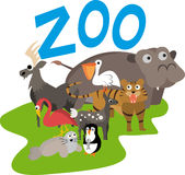 Zoo illustration. With many animals Stock Photography