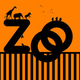 Zoo Illustration with Animals Royalty Free Stock Photography