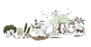 Zoo, illustration de parc de Safary, collection de ville Image libre de droits