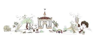 Zoo, illustration de parc de Safary, collection de ville Photos libres de droits