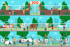 Zoo interior set. Adult and young people watch animals in the cages royalty free illustration
