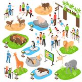 Zoo Isometric Big Set. City zoo isometric set with adult and kid visitors and animals of african arctic asian zones isolated vector illustration royalty free illustration