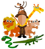 Zoo keeper. Abstract illustration of a zoo keeper with his cartoon animal friends stock illustration