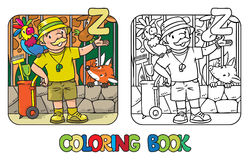 Zoo keeper coloring book Profession ABC Alphabet Z Royalty Free Stock Image