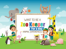 Zoo Keeper for a day children and animals cartoon frame illustration Stock Photos