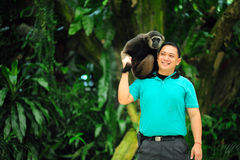 Zoo keeper of Singapore zoo Stock Image
