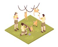 Zoo Keepers Isometric Composition Stock Photos