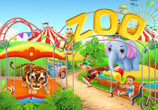 Zoo. Kids playground. Amusement park. Vector illustration Stock Image