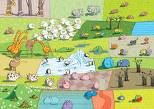 ZOO Landscapes. Is illustration made as a collage of different ecosystems with funny cartoon animals. Illustration is in eps 10  mode Royalty Free Stock Images