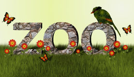 Zoo and Magpie Bird. Stone wall spells out the word zoo. Green and orange magpie bird sits on one of the letters. Orange and yellow flowers and butterflies and Stock Image
