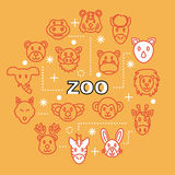 Zoo minimal outline icons Royalty Free Stock Photo