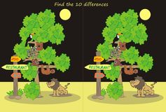 ZOO, night. Zoological garden, wildlife animals. Game for the children. Find ten differences Stock Images
