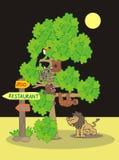 ZOO, night. Zoological garden, wildlife animals. Illustration for the children Stock Image