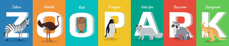 Zoo Park Conceptual ABC Flat Style Vector Banner. Zoo park  ABC concept. Flat style. Horizontal banner with zebra, ostrich, owl. penguin, fox, raccoon, kangaroo Stock Photos