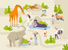 Zoo park with funny animals and people interacting with them vector flat illustrations. Animals in zoo infographic stock illustration