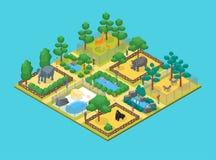 Zoo pojęcia 3d Isometric widok wektor ilustracji