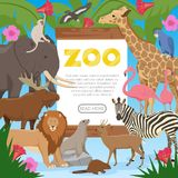 Zoo Cartoon Poster. Zoo poster with cartoon collection of exotic wild animals inhabitants of tropical jungle savannah and tundra flat vector illustration Stock Images