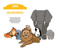 Zoo poster with kids and parents animals Stock Images