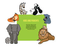 Zoo poster with kids and parents animals Stock Photos