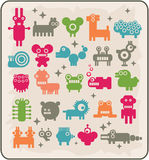 Zoo of robots coming from the other planets. Rare animals. Vector illustration Stock Photo