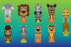 Zoo Safari Animal Bookmark Style vektor illustrationer