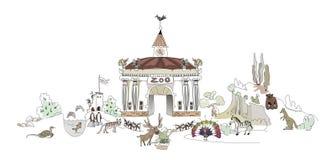 Zoo, Safary-Parkillustration, Stadtsammlung Stockbilder
