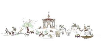 Zoo, Safary-Parkillustration, Stadtsammlung Lizenzfreie Stockfotografie