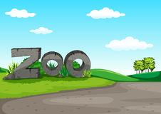 Zoo scene with green field. Illustration Stock Images
