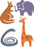 Zoo set. Vector wild animal color set royalty free illustration