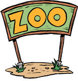 Zoo sign. A large zoo sign or billboard. Cartoon clip art image Stock Photo