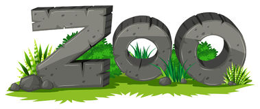 Zoo sign made of rock. Illustration Royalty Free Stock Photo