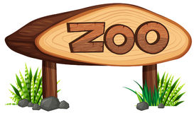 Zoo sign made of wood. Illustration Royalty Free Stock Image